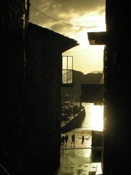 Morning joggers at San Sebastian, Spain