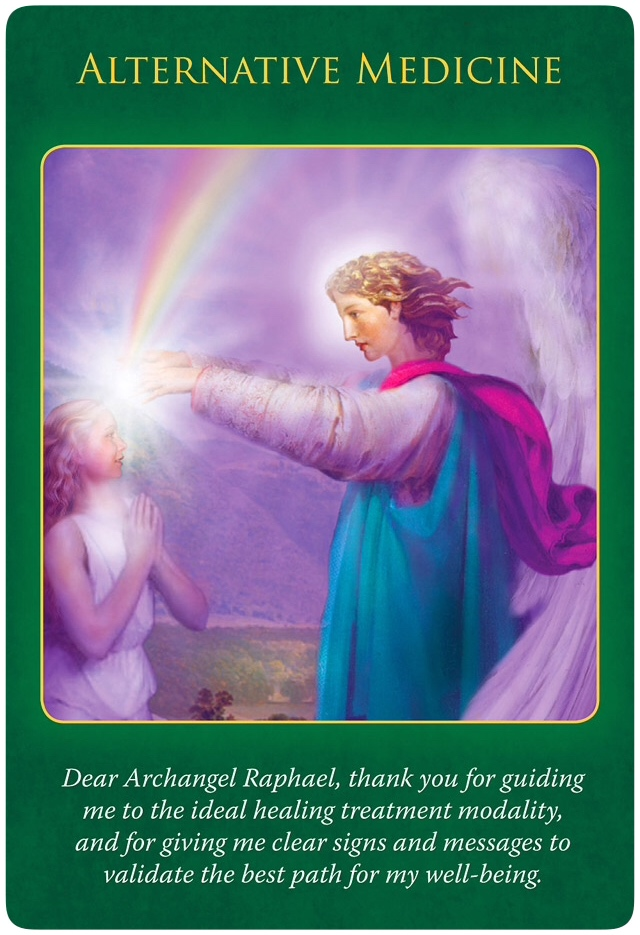 Alternative Medicine from Archangel Raphael, who's pouring his rainbow-coloured blessings over a woman, placing his both hands on her forehead.
