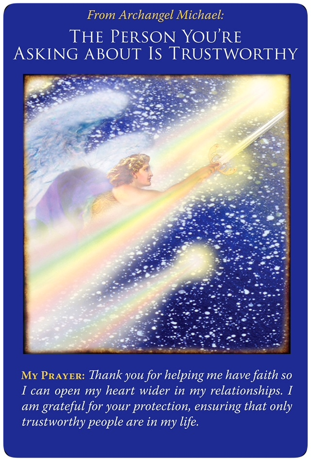 The Person You're Asking About Is Trustworthy from Archangel Michael Oracle Cards