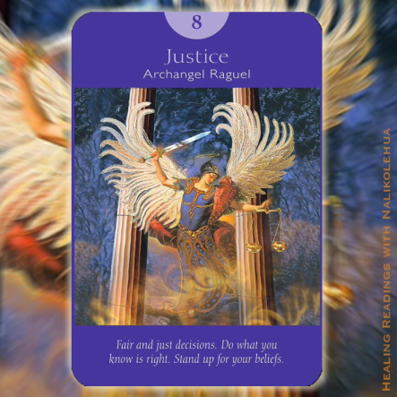 Justice from Archangel Raguel of the Angel Tarot Cards