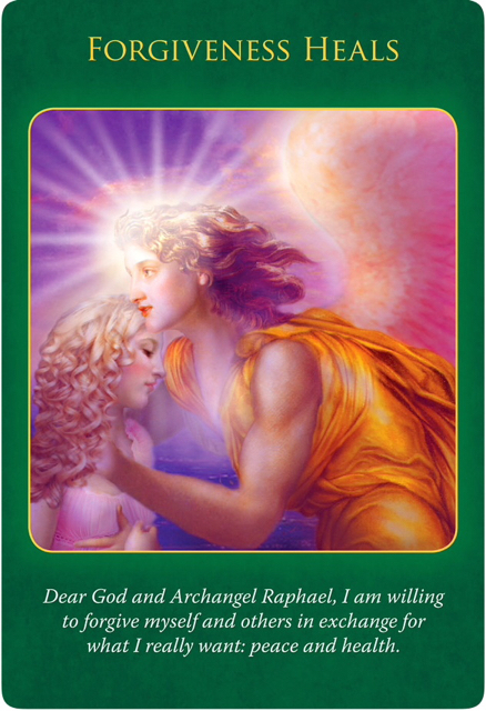 Forgiveness Heals from the Archangel Raphael in an orange gown, who's blessing a girl with curly blonde hair by his shining light.
