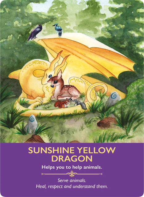 Sunshine Yellow Dragon from the Dragon Oracle Cards