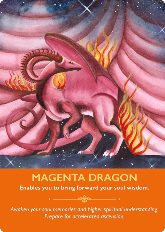 Magenta dragon from Dragon Oracle Cards