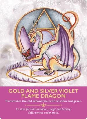 金と銀とスミレ色の、炎のドラゴン/Gold and Silver Violet Flame Dragon 〜ドラゴンオラクルカード