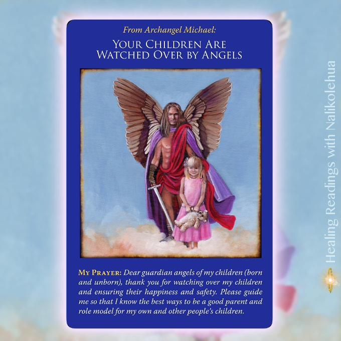 あなたの子どもは天使に見守られています/Your Children Are Watched Over By Angels 大天使ミカエルオラクルカードより