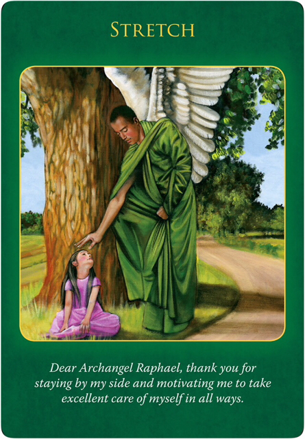 Stretch from Archangel Raphael in a green gown who's putting his right hand on a little girl sitting under a big tree, wearing a pink dress, looking up the Archangel.