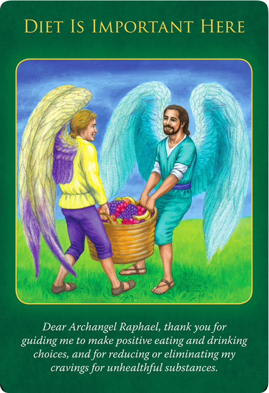 Diet Is Important Here from Archangel Raphael, who's carrying a big basket of fruit with his fellow angel, wearing a smile.