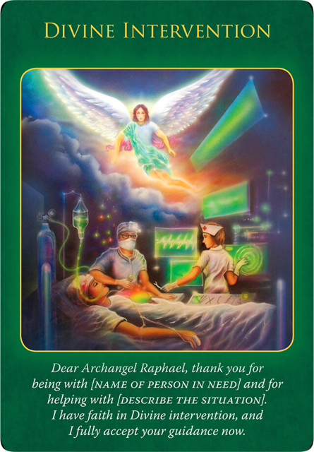 Divine Intervention from Archangel Raphael, who's hovering in an ICU and pouring his blessings to a patience on the bed.