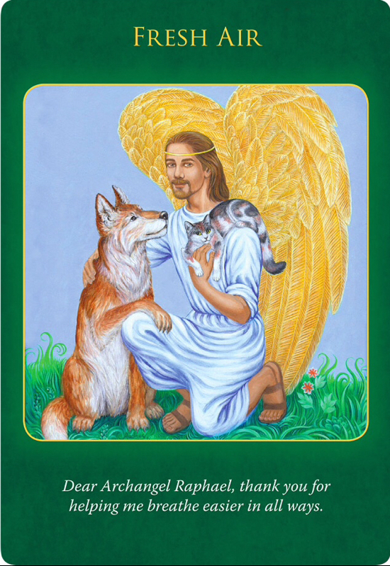 Fresh Air from Archangel Raphael, who is with a cat on his shoulder and a dog sitting next to him.