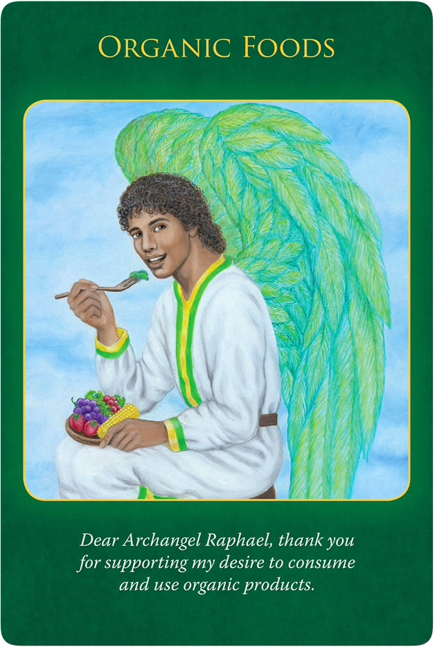Organic Foods from the Archangel Raphael, who is eating fruit and vegetables such as grapes, bananas, corns and tomatoes.