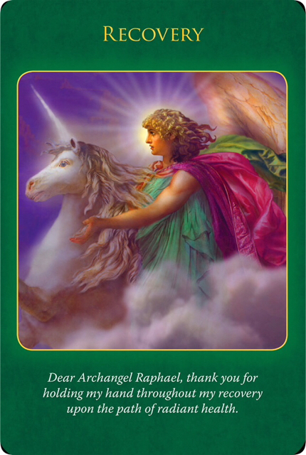 Recovery from the Archangel Raphael, who's riding on a white Unicorn walking in the white cloud and yellow sunlight.