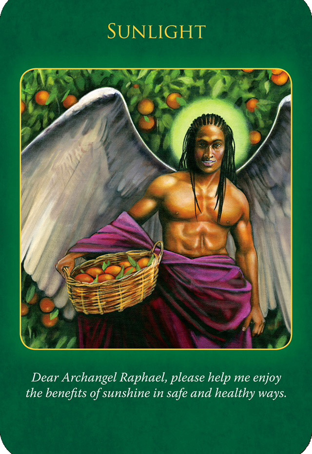 Sunlight from the Archangel Raphael Healing, who's holding a big basket full of oranges under the bright sunlight.