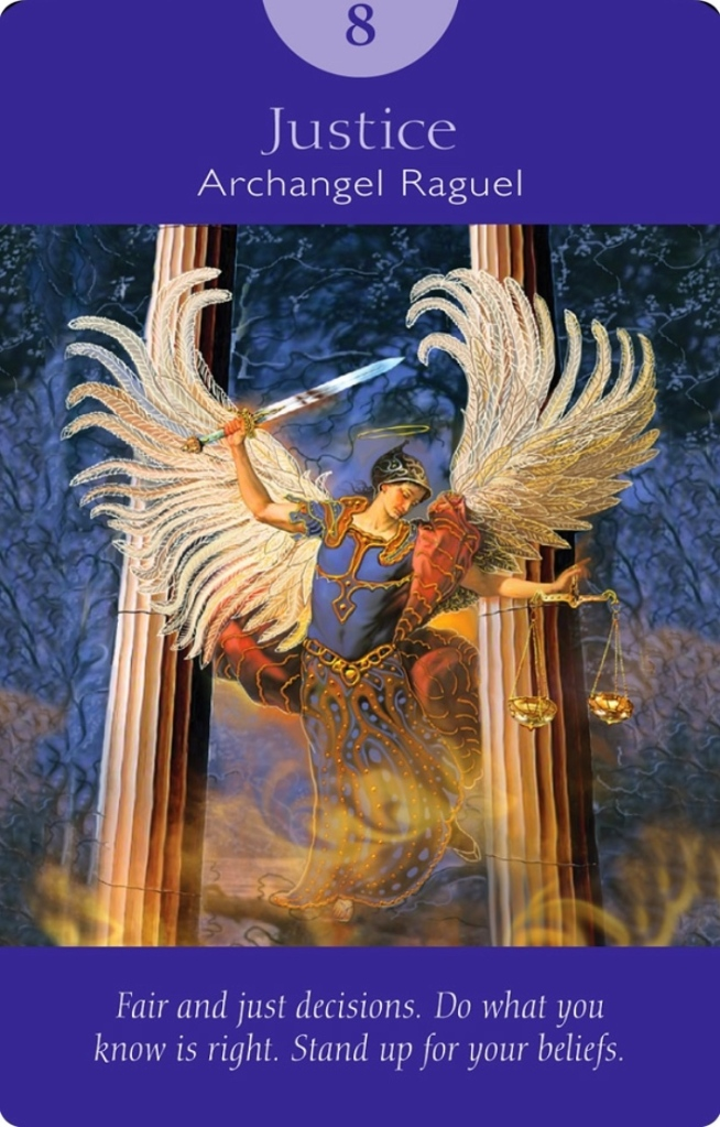 Justice from Archangel Raguel of Angel Tarot Cards