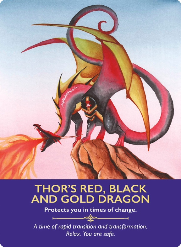Thor's Red, Black and Gold Dragon from Dragon Oracle Cards/火雷神トールの龍